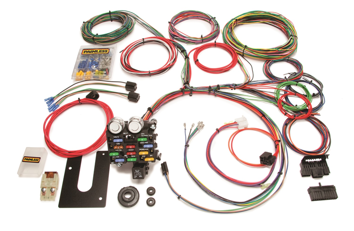 painless 10101 21-circuit classic customizable chassis harness gm keyed  column