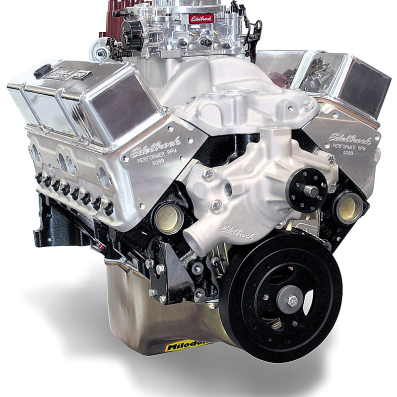 Edelbrock 45711 Performer RPM Small Block Chevy 410HP Crate Engine with  short water pump Polish
